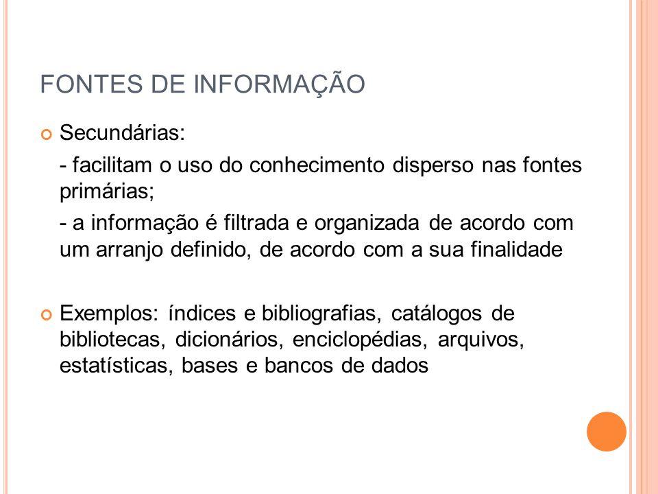 FONTES DE INFORMAÇÃO Secundárias: - facilitam o uso do conhecimento disperso nas fontes primárias; - a informação é filtrada e organizada de acordo co