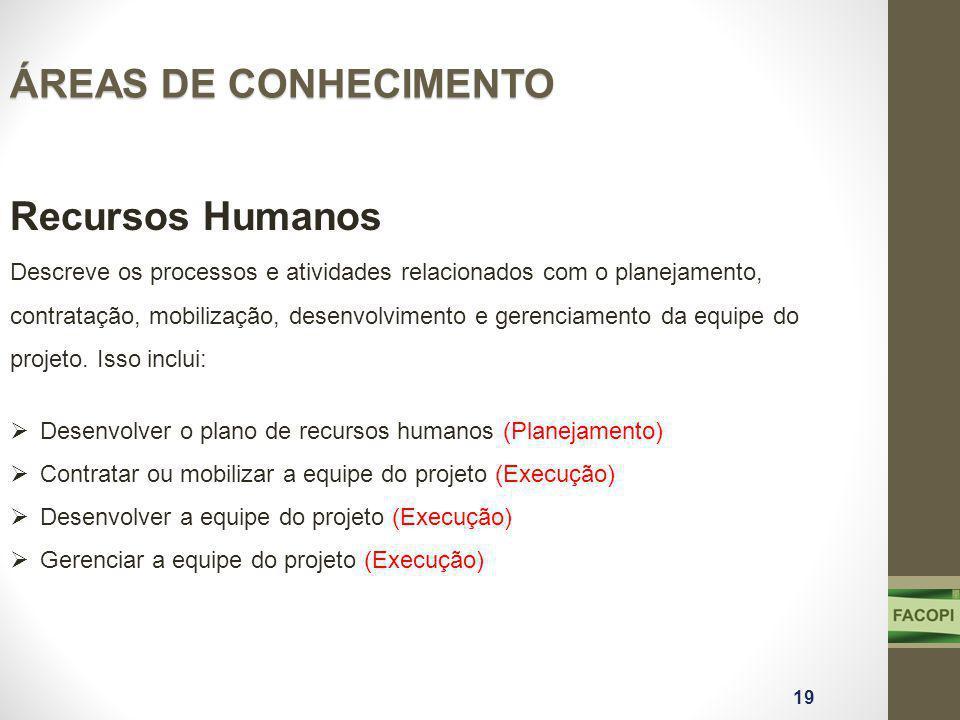 ÁREAS DE CONHECIMENTO Recursos Humanos Descreve os processos e atividades relacionados com o planejamento, contratação, mobilização, desenvolvimento e gerenciamento da equipe do projeto.