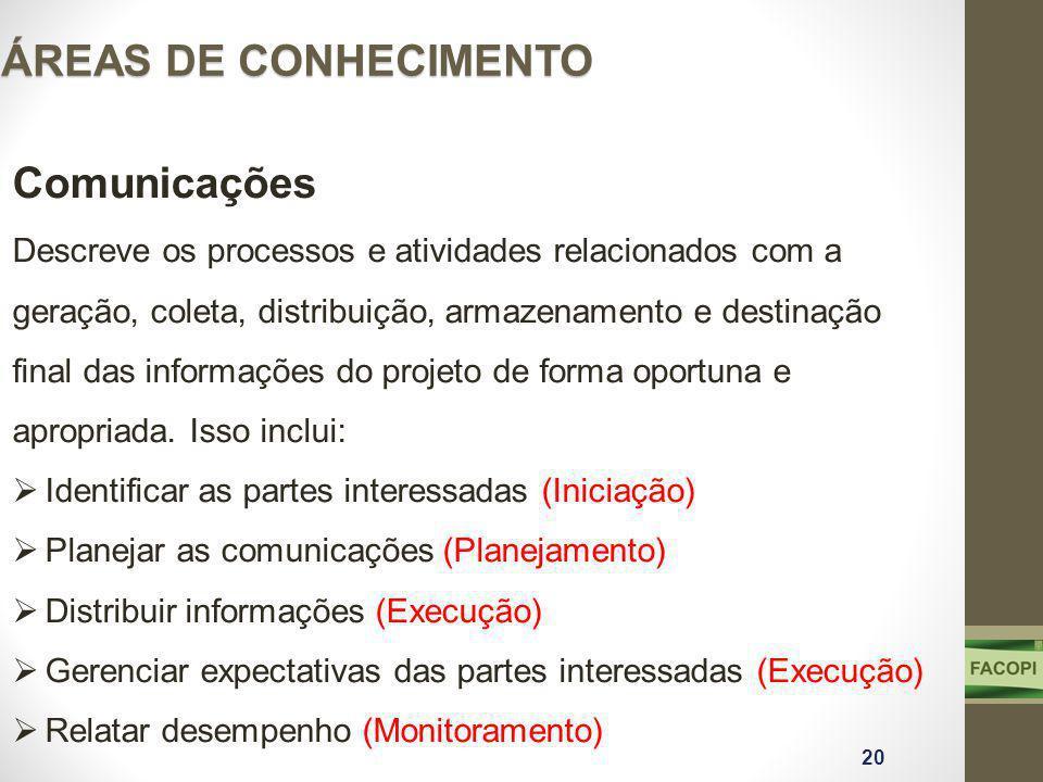 ÁREAS DE CONHECIMENTO Comunicações Descreve os processos e atividades relacionados com a geração, coleta, distribuição, armazenamento e destinação fin