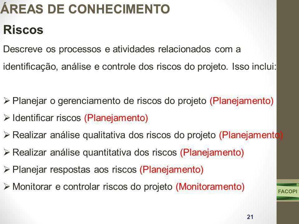 ÁREAS DE CONHECIMENTO Riscos Descreve os processos e atividades relacionados com a identificação, análise e controle dos riscos do projeto.