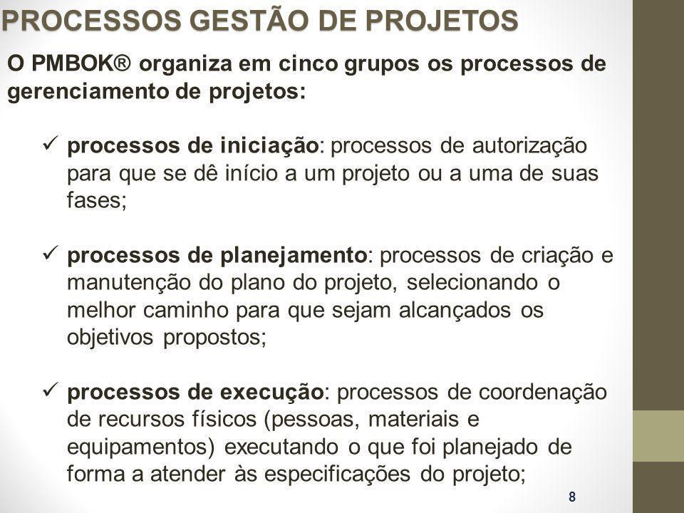 PROCESSOS GESTÃO DE PROJETOS 8 O PMBOK® organiza em cinco grupos os processos de gerenciamento de projetos: processos de iniciação: processos de autor
