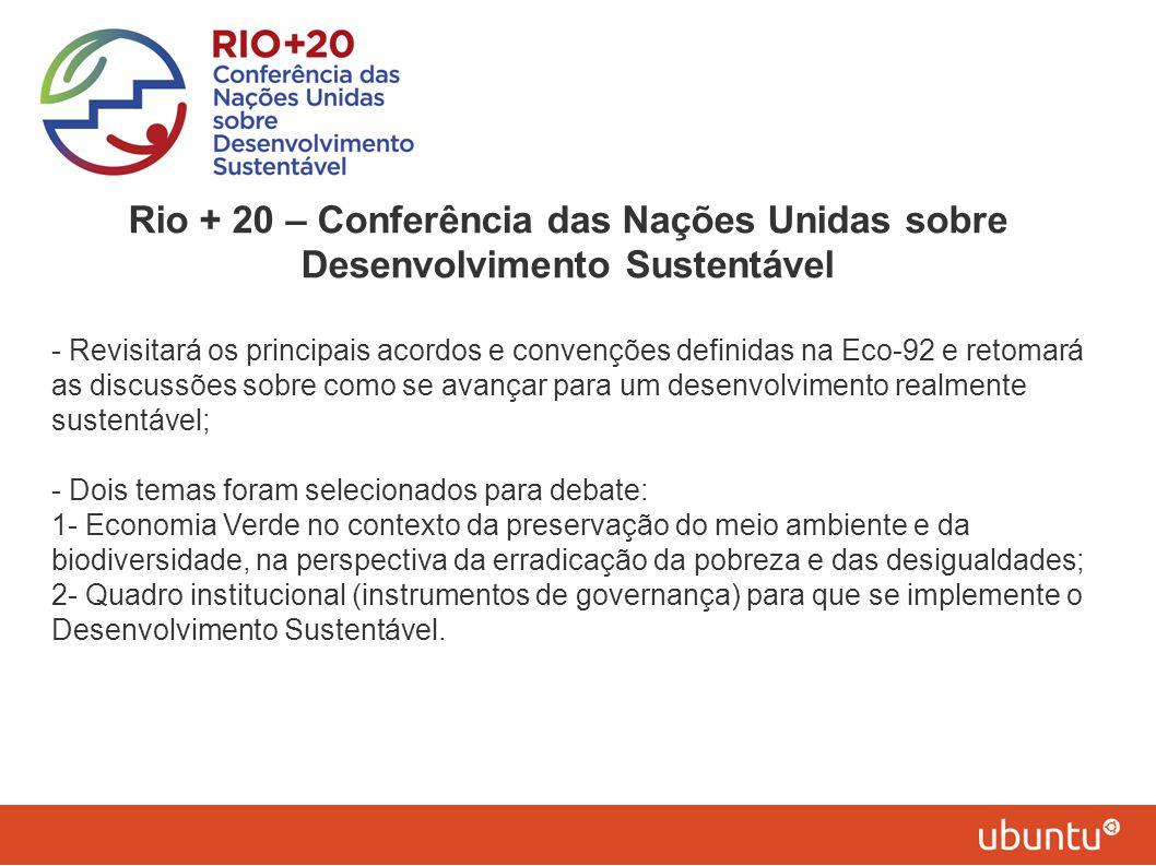Rio + 20 – Conferência das Nações Unidas sobre Desenvolvimento Sustentável - Revisitará os principais acordos e convenções definidas na Eco-92 e retom