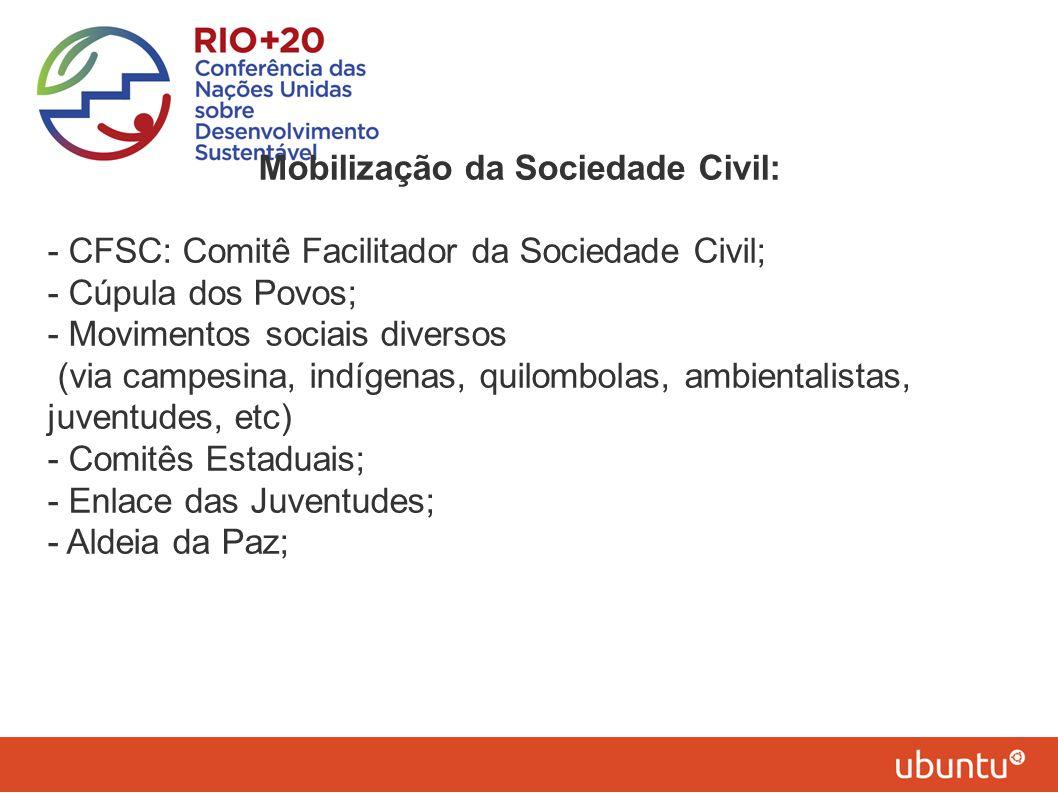 Mobilização da Sociedade Civil: - CFSC: Comitê Facilitador da Sociedade Civil; - Cúpula dos Povos; - Movimentos sociais diversos (via campesina, indíg