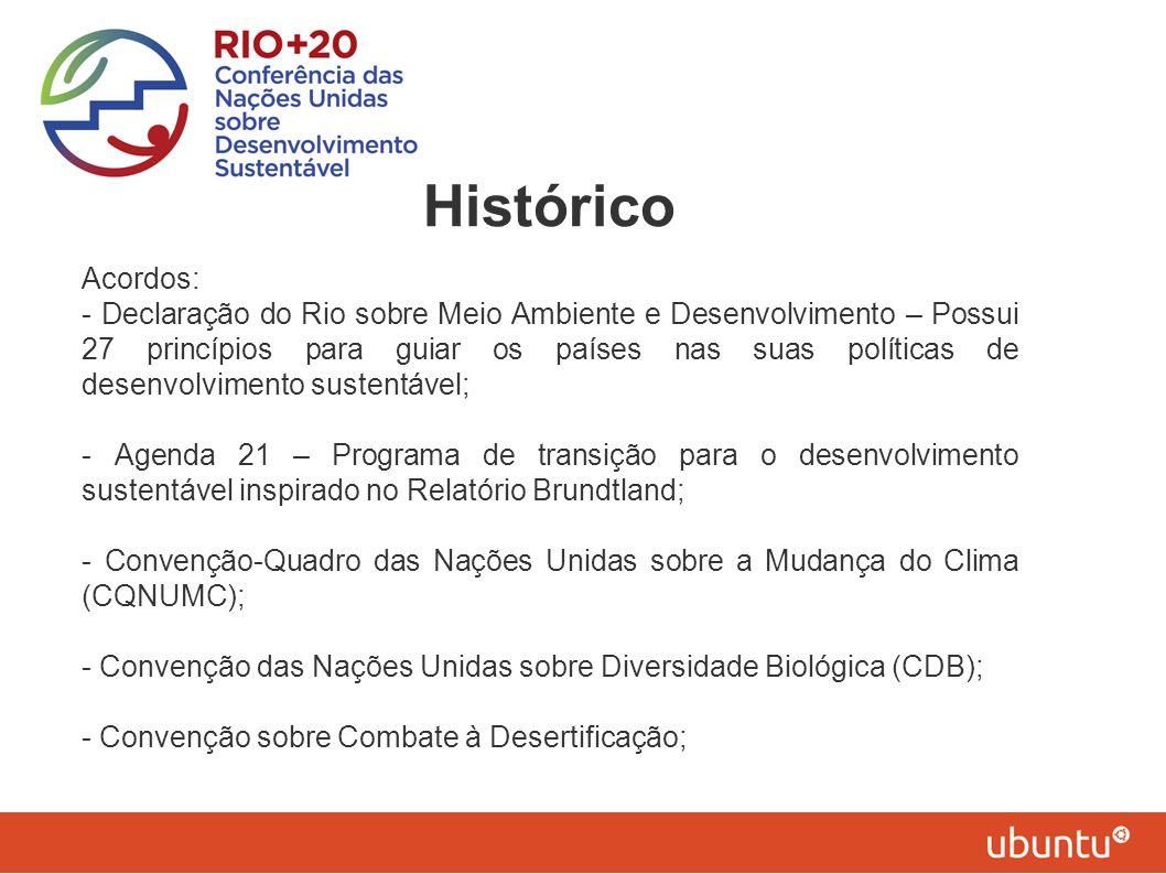 Histórico Acordos: - Declaração do Rio sobre Meio Ambiente e Desenvolvimento – Possui 27 princípios para guiar os países nas suas políticas de desenvo