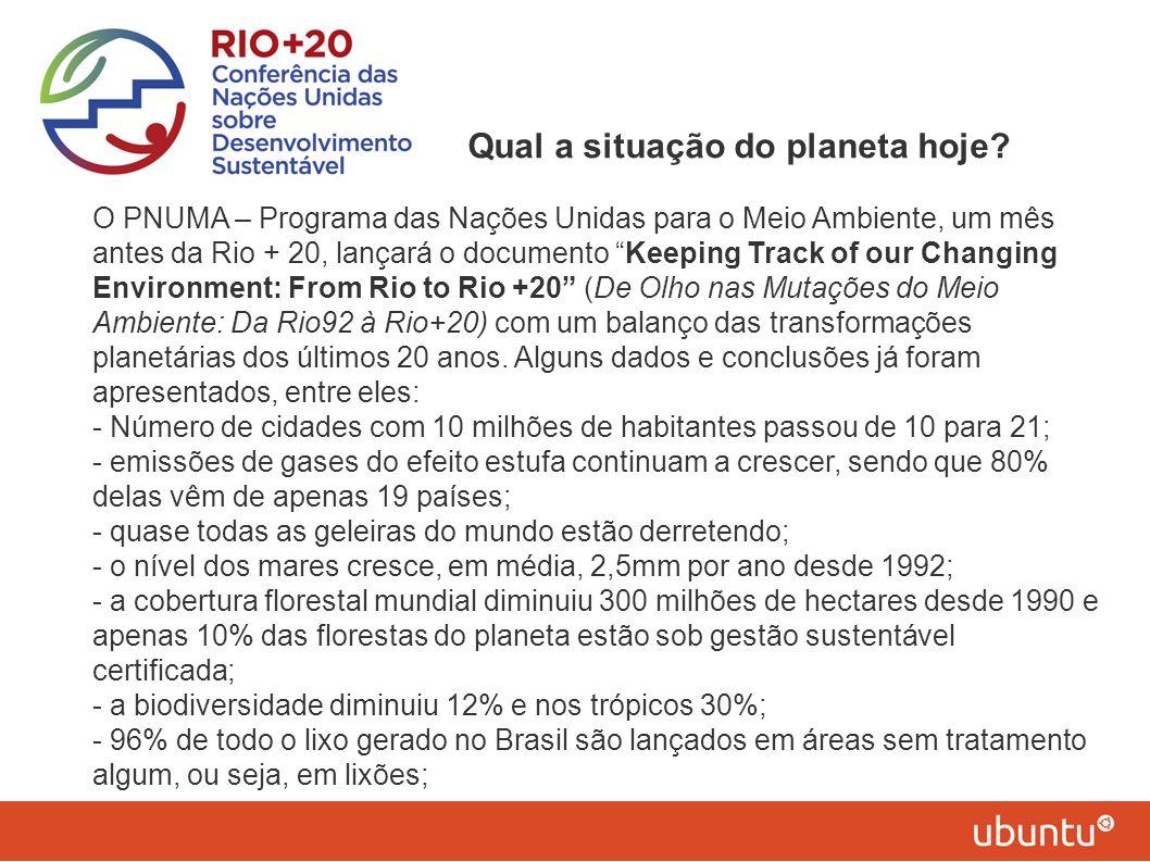"""Qual a situação do planeta hoje? O PNUMA – Programa das Nações Unidas para o Meio Ambiente, um mês antes da Rio + 20, lançará o documento """"Keeping Tra"""