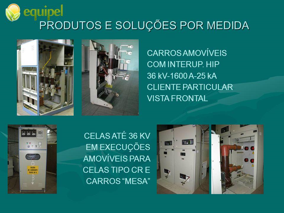 PRODUTOS E SOLUÇÕES POR MEDIDA CARROS AMOVÍVEIS COM INTERUP. HIP 36 kV-1600 A-25 kA CLIENTE PARTICULAR VISTA FRONTAL CELAS ATÉ 36 KV EM EXECUÇÕES AMOV
