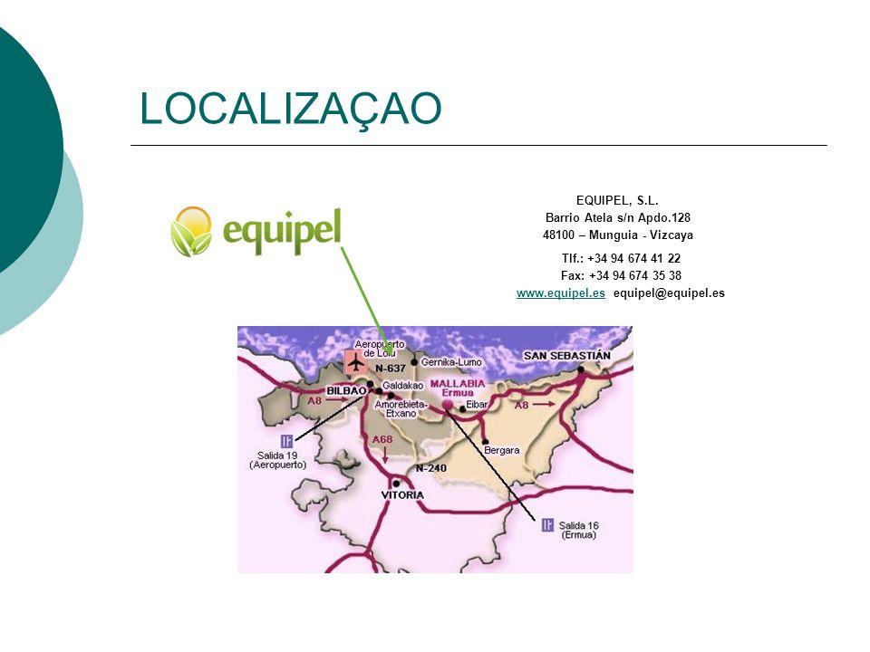 LOCALIZAÇAO EQUIPEL, S.L. Barrio Atela s/n Apdo.128 48100 – Munguia - Vizcaya Tlf.: +34 94 674 41 22 Fax: +34 94 674 35 38 www.equipel.eswww.equipel.e