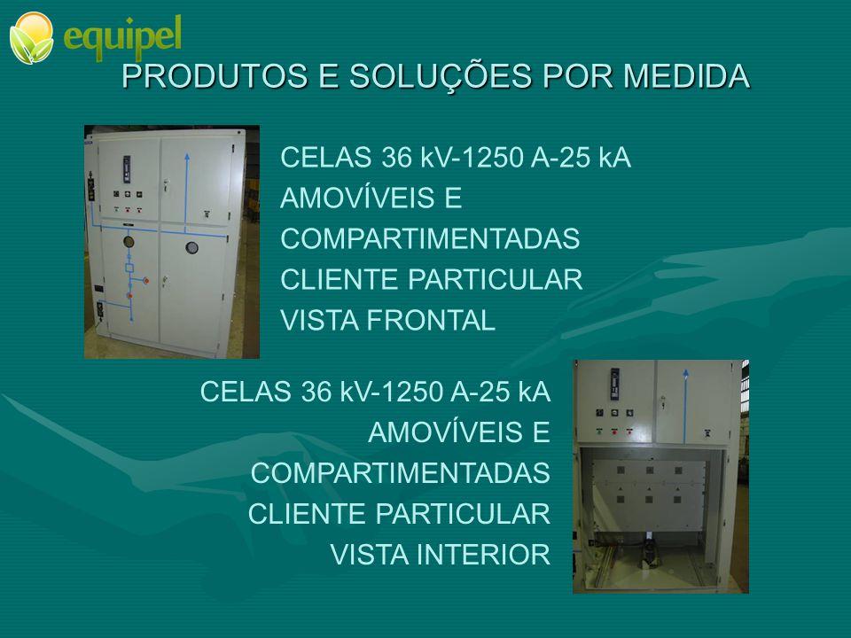 PRODUTOS E SOLUÇÕES POR MEDIDA CELAS 36 kV-1250 A-25 kA AMOVÍVEIS E COMPARTIMENTADAS CLIENTE PARTICULAR VISTA FRONTAL CELAS 36 kV-1250 A-25 kA AMOVÍVE