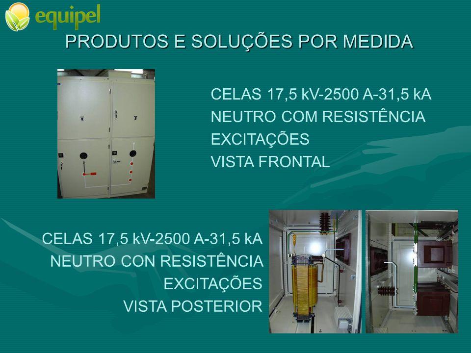 PRODUTOS E SOLUÇÕES POR MEDIDA CELAS 17,5 kV-2500 A-31,5 kA NEUTRO COM RESISTÊNCIA EXCITAÇÕES VISTA FRONTAL CELAS 17,5 kV-2500 A-31,5 kA NEUTRO CON RE