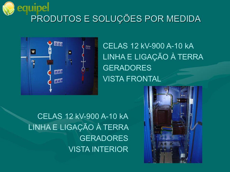 PRODUTOS E SOLUÇÕES POR MEDIDA CELAS 12 kV-900 A-10 kA LINHA E LIGAÇÃO À TERRA GERADORES VISTA FRONTAL CELAS 12 kV-900 A-10 kA LINHA E LIGAÇÃO À TERRA GERADORES VISTA INTERIOR