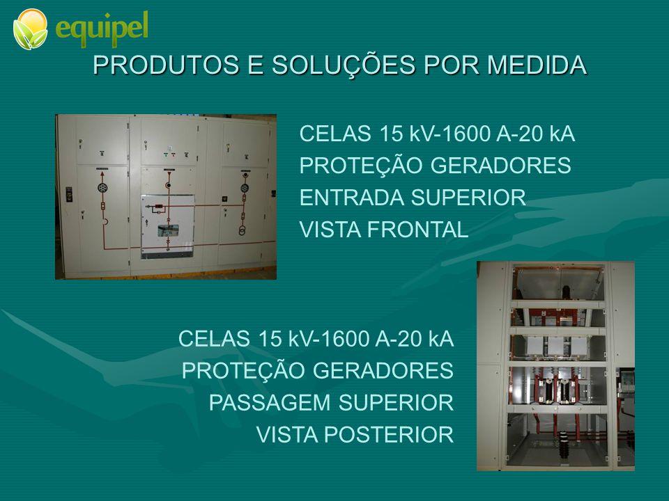 PRODUTOS E SOLUÇÕES POR MEDIDA CELAS 15 kV-1600 A-20 kA PROTEÇÃO GERADORES ENTRADA SUPERIOR VISTA FRONTAL CELAS 15 kV-1600 A-20 kA PROTEÇÃO GERADORES PASSAGEM SUPERIOR VISTA POSTERIOR