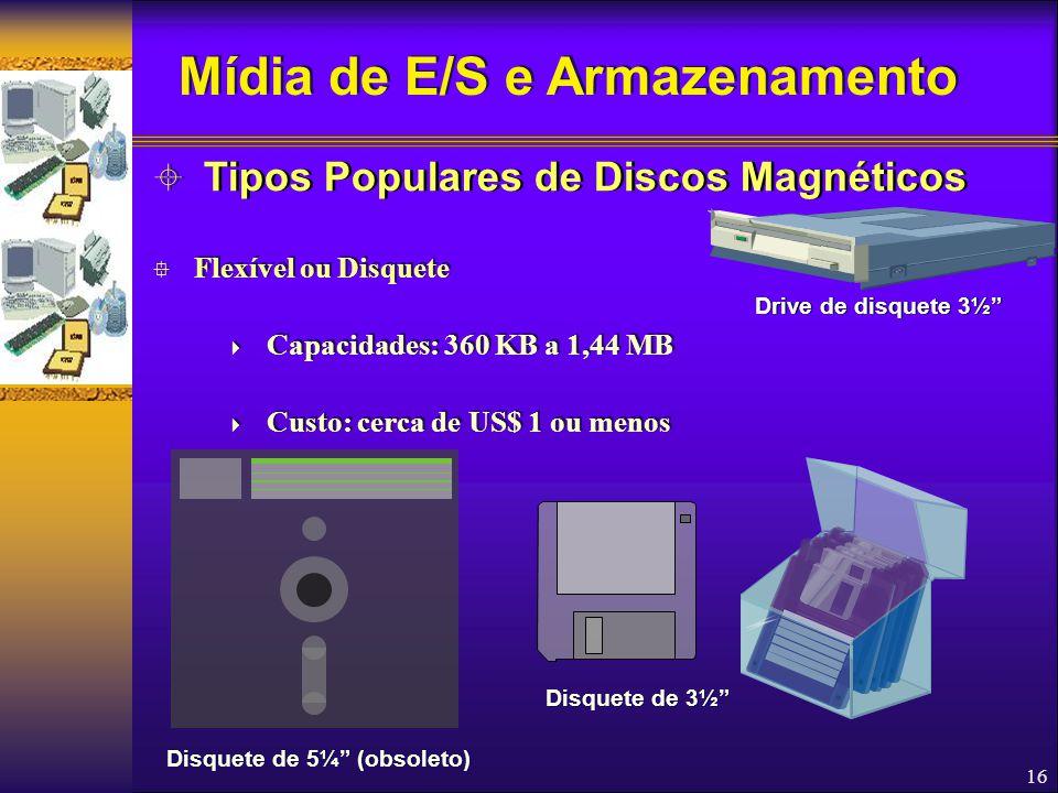 16  Flexível ou Disquete  Capacidades: 360 KB a 1,44 MB  Custo: cerca de US$ 1 ou menos  Flexível ou Disquete  Capacidades: 360 KB a 1,44 MB  Cu