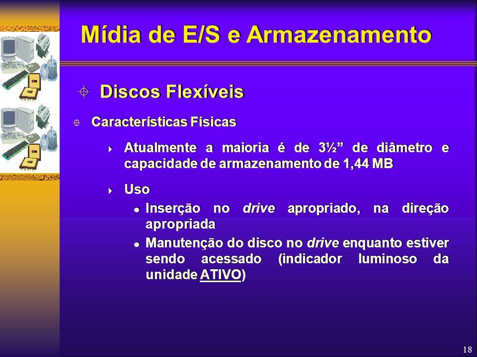 """18  Características Físicas  Atualmente a maioria é de 3½"""" de diâmetro e capacidade de armazenamento de 1,44 MB  Uso Inserção no drive apropriado,"""