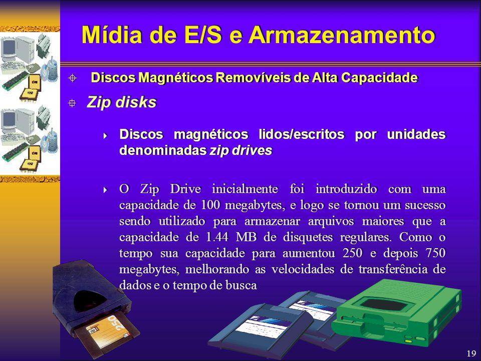 19  Zip disks  Discos magnéticos lidos/escritos por unidades denominadas zip drives  O Zip Drive inicialmente foi introduzido com uma capacidade de