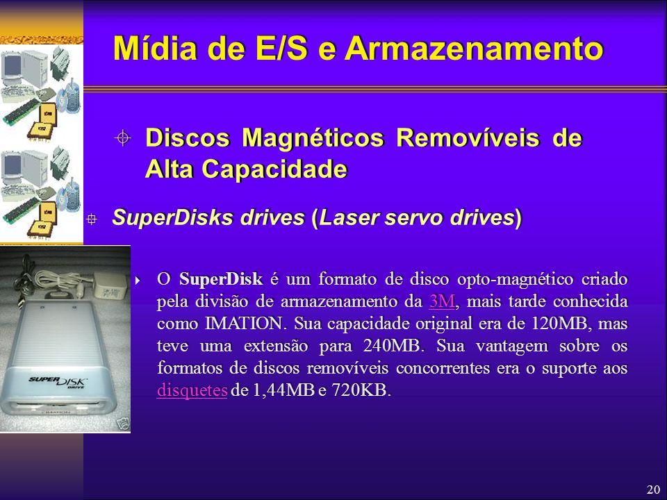 20  SuperDisks drives (Laser servo drives)  O SuperDisk é um formato de disco opto-magnético criado pela divisão de armazenamento da 3M, mais tarde