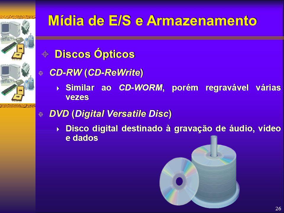 26  CD-RW (CD-ReWrite)  Similar ao CD-WORM, porém regravável várias vezes  DVD (Digital Versatile Disc)  Disco digital destinado à gravação de áud