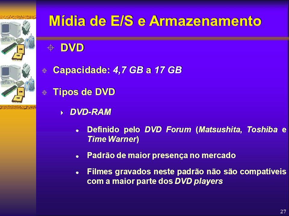 27  Capacidade: 4,7 GB a 17 GB  Tipos de DVD  DVD-RAM ● Definido pelo DVD Forum (Matsushita, Toshiba e Time Warner) ● Padrão de maior presença no m
