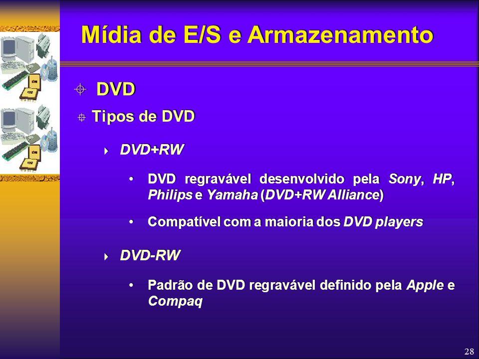 28  Tipos de DVD  DVD+RW DVD regravável desenvolvido pela Sony, HP, Philips e Yamaha (DVD+RW Alliance) Compatível com a maioria dos DVD players  DV