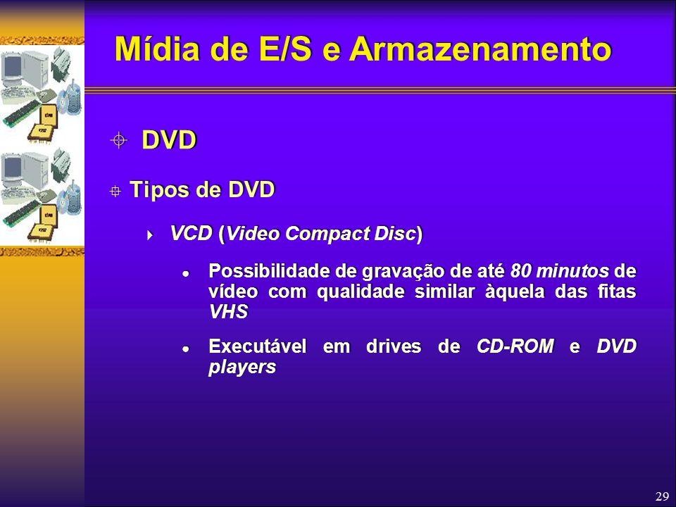 29  Tipos de DVD  VCD ( Video Compact Disc) ● Possibilidade de gravação de até 80 minutos de vídeo com qualidade similar àquela das fitas VHS ● Exec