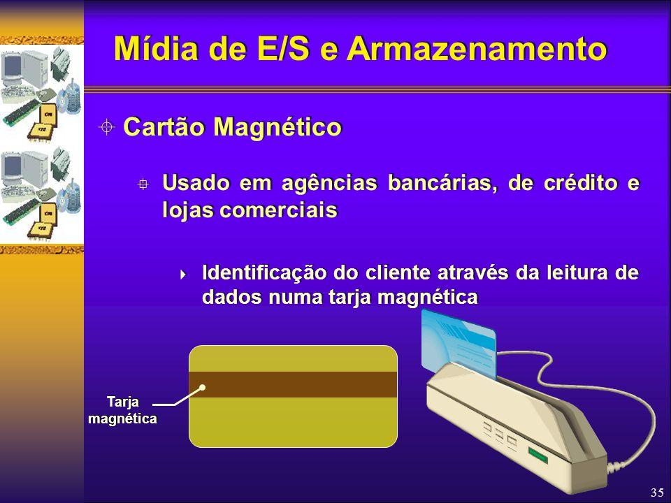 35  Cartão Magnético  Usado em agências bancárias, de crédito e lojas comerciais  Identificação do cliente através da leitura de dados numa tarja m