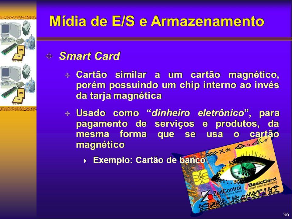 """36  Smart Card  Cartão similar a um cartão magnético, porém possuindo um chip interno ao invés da tarja magnética  Usado como """"dinheiro eletrônico"""""""