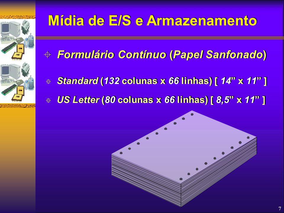 18  Características Físicas  Atualmente a maioria é de 3½ de diâmetro e capacidade de armazenamento de 1,44 MB  Uso Inserção no drive apropriado, na direção apropriada Manutenção do disco no drive enquanto estiver sendo acessado (indicador luminoso da unidade ATIVO)  Características Físicas  Atualmente a maioria é de 3½ de diâmetro e capacidade de armazenamento de 1,44 MB  Uso Inserção no drive apropriado, na direção apropriada Manutenção do disco no drive enquanto estiver sendo acessado (indicador luminoso da unidade ATIVO)  Discos Flexíveis Mídia de E/S e Armazenamento