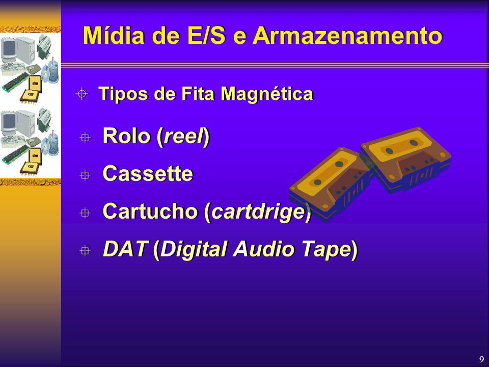 10  Capacidade de armazenamento elevada graças ao conceito de densidade de gravação  Densidade de Gravação  Quantidade de bytes gravados por unidade de comprimento, com base na polegada  Unidade de medida: B.P.I (Bytes Per Inch)  Valores típicos: 200, 556, 800, 1.600, 3.200 e 22.000 BPI  Capacidade de armazenamento elevada graças ao conceito de densidade de gravação  Densidade de Gravação  Quantidade de bytes gravados por unidade de comprimento, com base na polegada  Unidade de medida: B.P.I (Bytes Per Inch)  Valores típicos: 200, 556, 800, 1.600, 3.200 e 22.000 BPI  Características das Fitas Magnéticas Mídia de E/S e Armazenamento