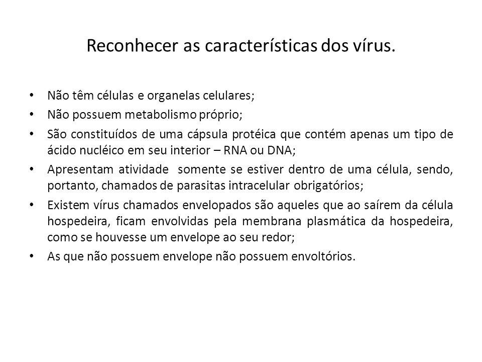 Reconhecer as características dos vírus. Não têm células e organelas celulares; Não possuem metabolismo próprio; São constituídos de uma cápsula proté