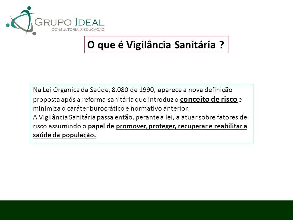 O que é Vigilância Sanitária ? Na Lei Orgânica da Saúde, 8.080 de 1990, aparece a nova definição proposta após a reforma sanitária que introduz o conc