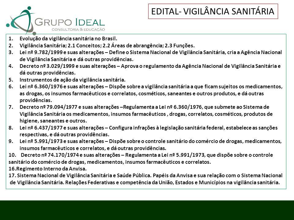 1.Evolução da vigilância sanitária no Brasil. 2.Vigilância Sanitária; 2.1 Conceitos; 2.2 Áreas de abrangência; 2.3 Funções. 3.Lei nº 9.782/1999 e suas
