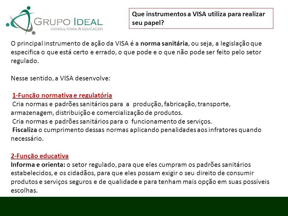 Que instrumentos a VISA utiliza para realizar seu papel? O principal instrumento de ação da VISA é a norma sanitária, ou seja, a legislação que especi