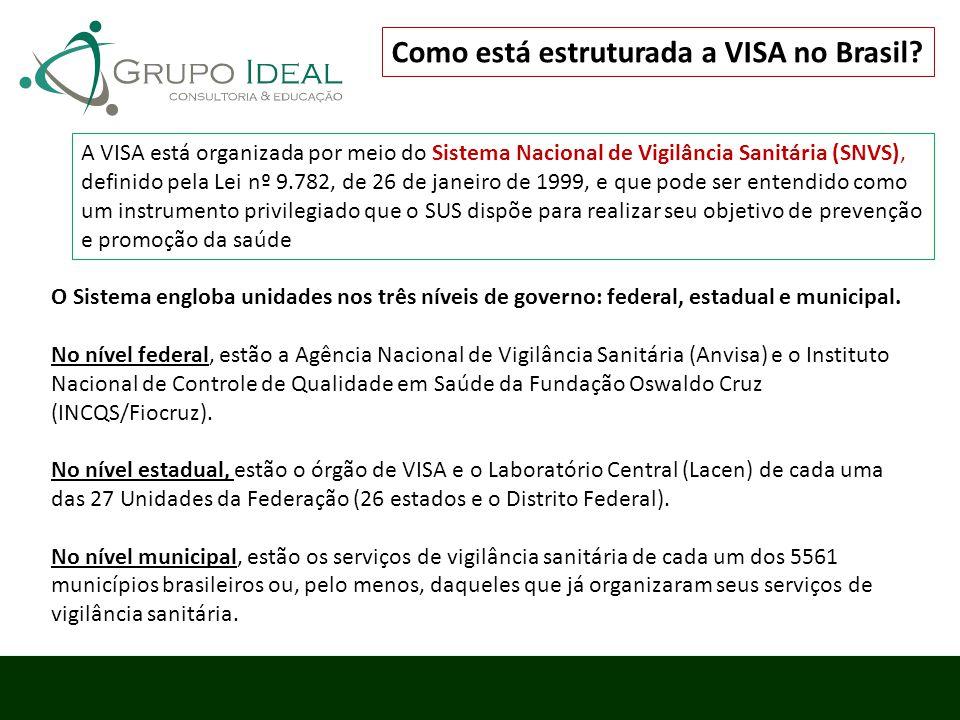 A VISA está organizada por meio do Sistema Nacional de Vigilância Sanitária (SNVS), definido pela Lei nº 9.782, de 26 de janeiro de 1999, e que pode s