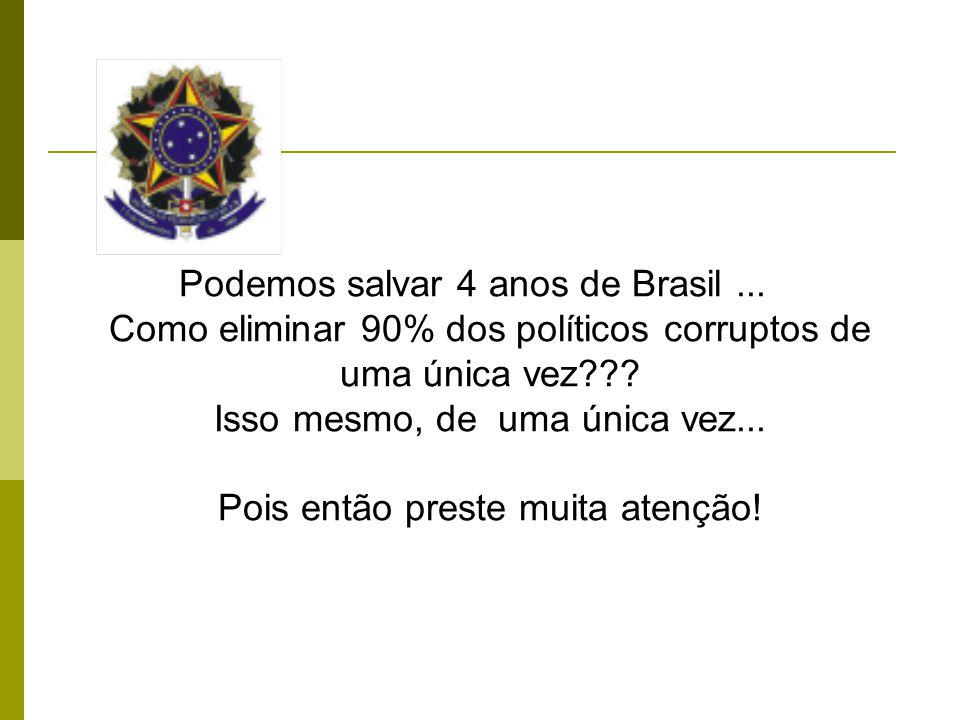 Podemos salvar 4 anos de Brasil... Como eliminar 90% dos políticos corruptos de uma única vez .