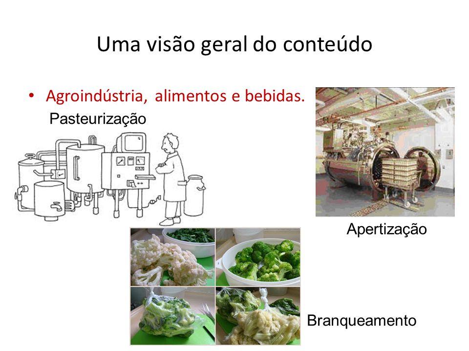 Uma visão geral do conteúdo Agroindústria, alimentos e bebidas. Pasteurização Apertização Branqueamento