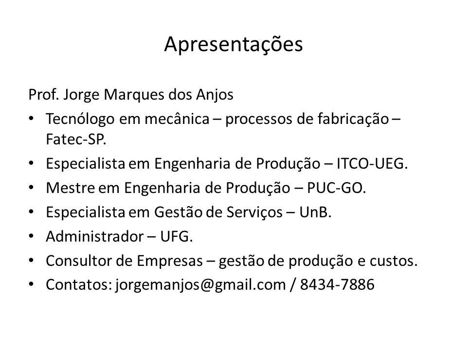 Apresentações Prof. Jorge Marques dos Anjos Tecnólogo em mecânica – processos de fabricação – Fatec-SP. Especialista em Engenharia de Produção – ITCO-
