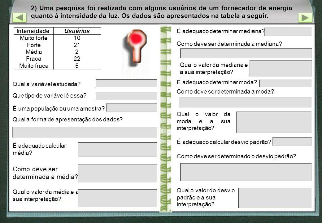 2) Uma pesquisa foi realizada com alguns usuários de um fornecedor de energia quanto à intensidade da luz. Os dados são apresentados na tabela a segui