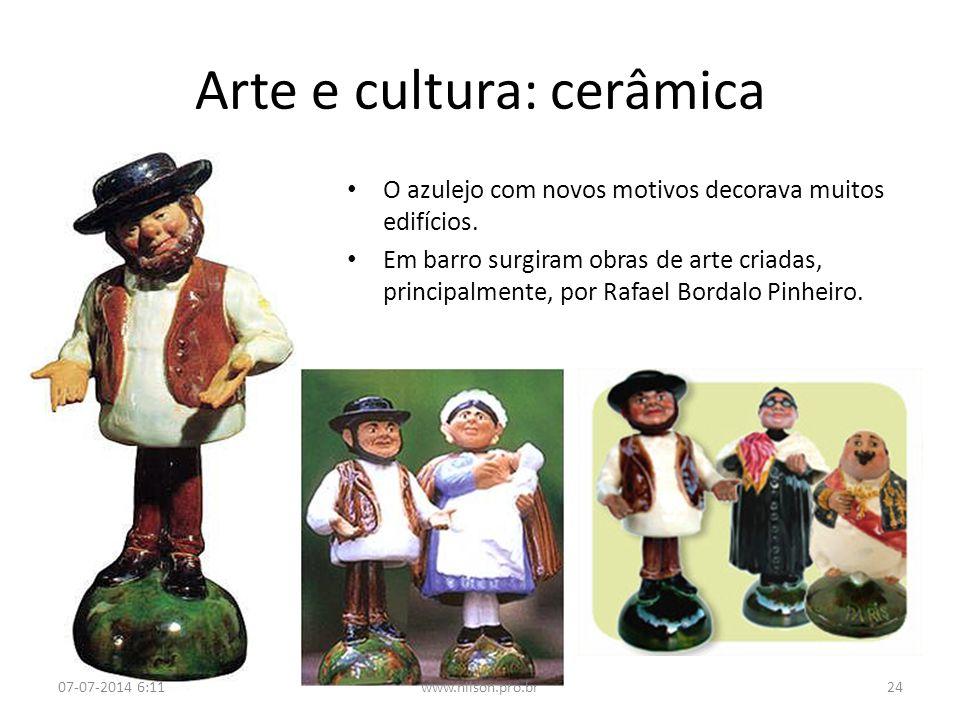 Arte e cultura: cerâmica O azulejo com novos motivos decorava muitos edifícios. Em barro surgiram obras de arte criadas, principalmente, por Rafael Bo
