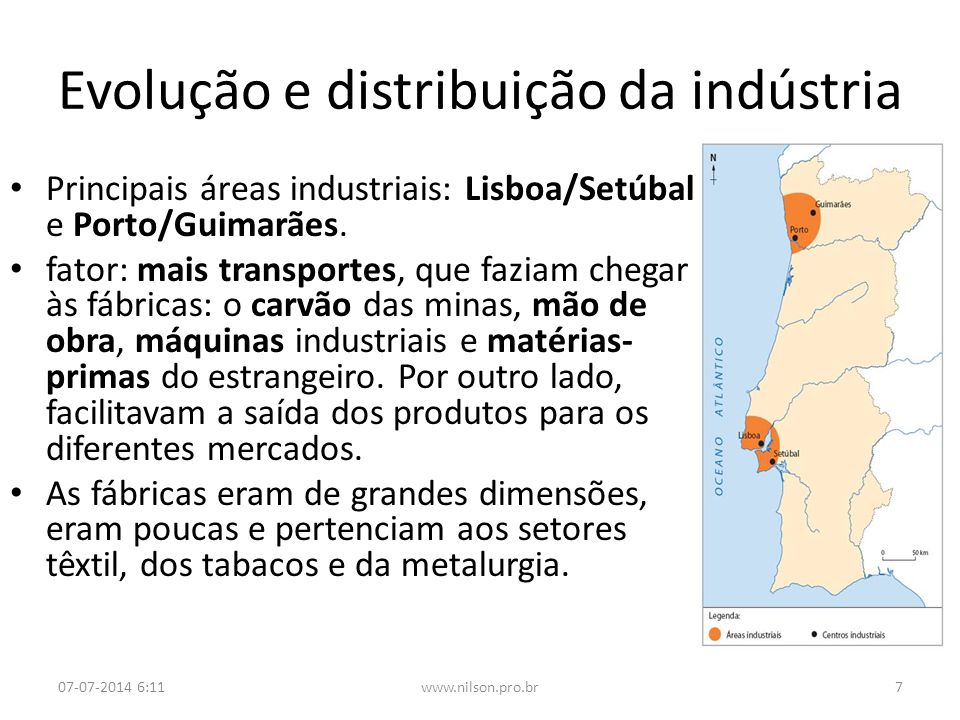 Evolução e distribuição da indústria Principais áreas industriais: Lisboa/Setúbal e Porto/Guimarães. fator: mais transportes, que faziam chegar às fáb