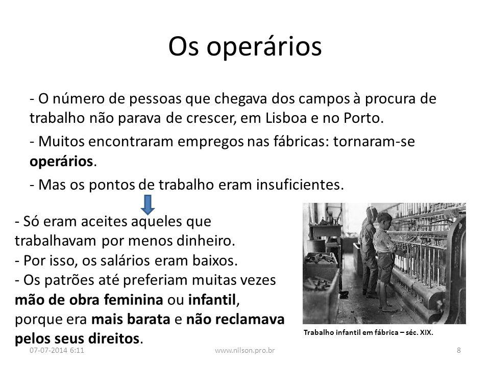 Os operários - Para lutar por melhores condições de vida, os operários formaram associações e fizeram as primeiras exigências aos patrões.