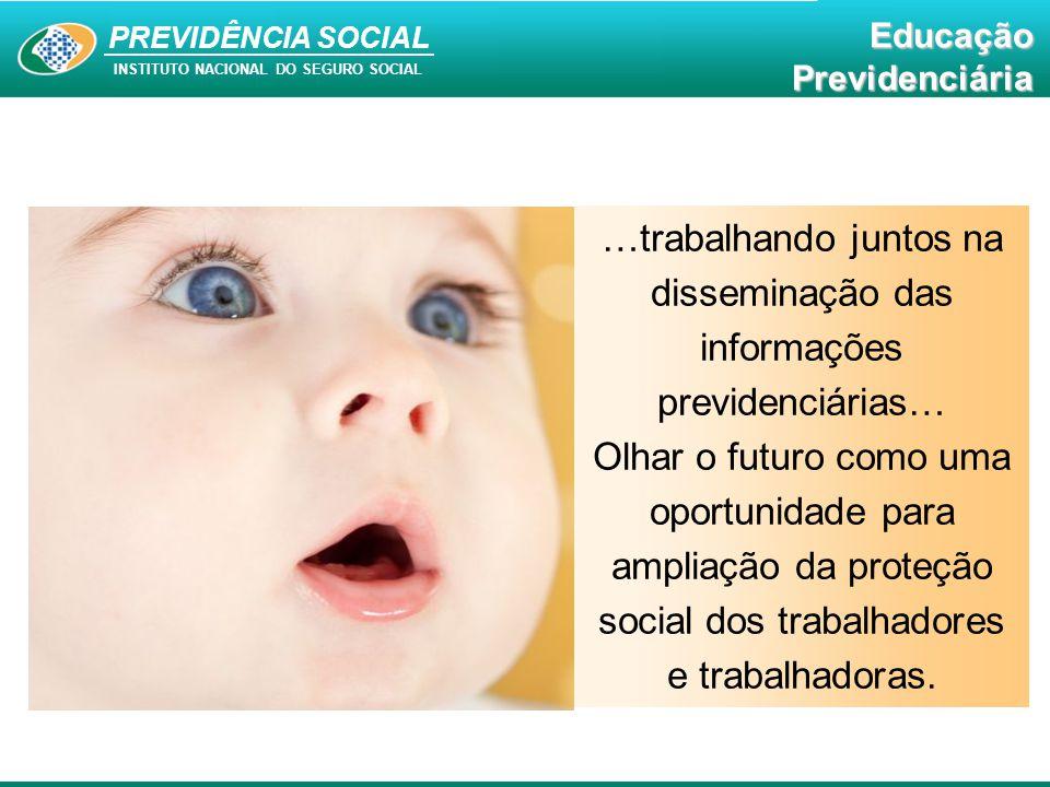 Educação Previdenciária PREVIDÊNCIA SOCIAL INSTITUTO NACIONAL DO SEGURO SOCIAL EducaçãoPrevidenciária …trabalhando juntos na disseminação das informaç