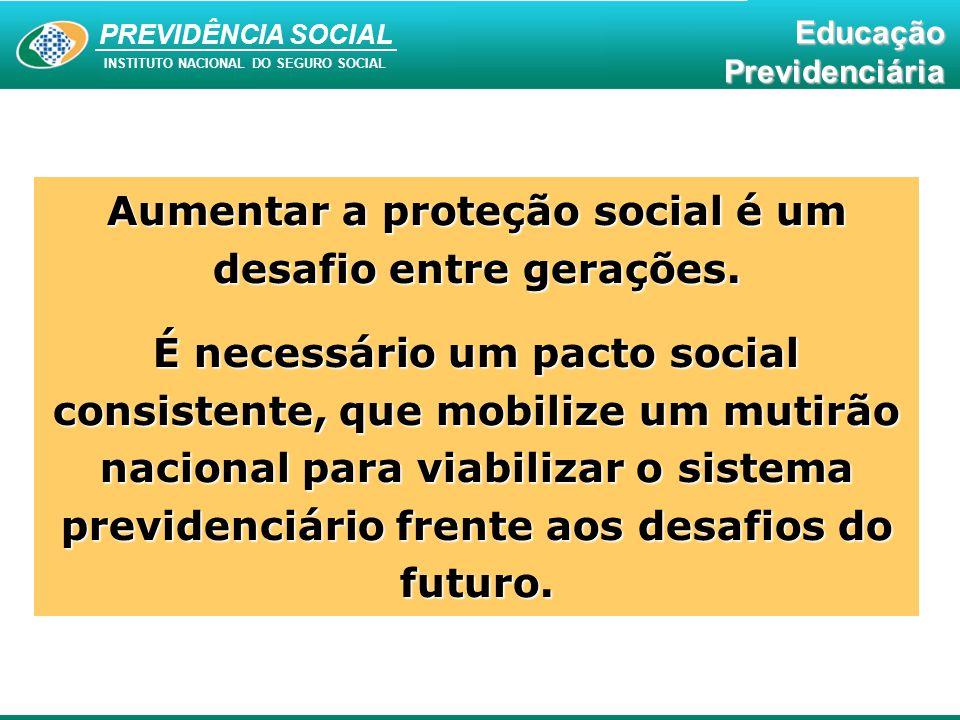 Educação Previdenciária PREVIDÊNCIA SOCIAL INSTITUTO NACIONAL DO SEGURO SOCIAL EducaçãoPrevidenciária Aumentar a proteção social é um desafio entre ge