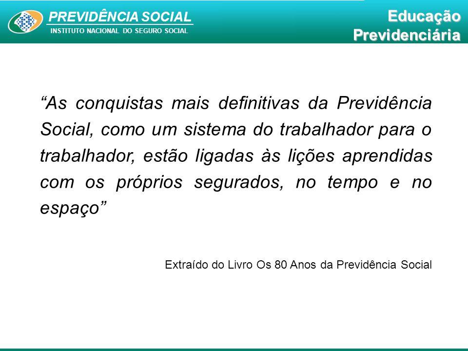 """Educação Previdenciária PREVIDÊNCIA SOCIAL INSTITUTO NACIONAL DO SEGURO SOCIAL EducaçãoPrevidenciária """"As conquistas mais definitivas da Previdência S"""