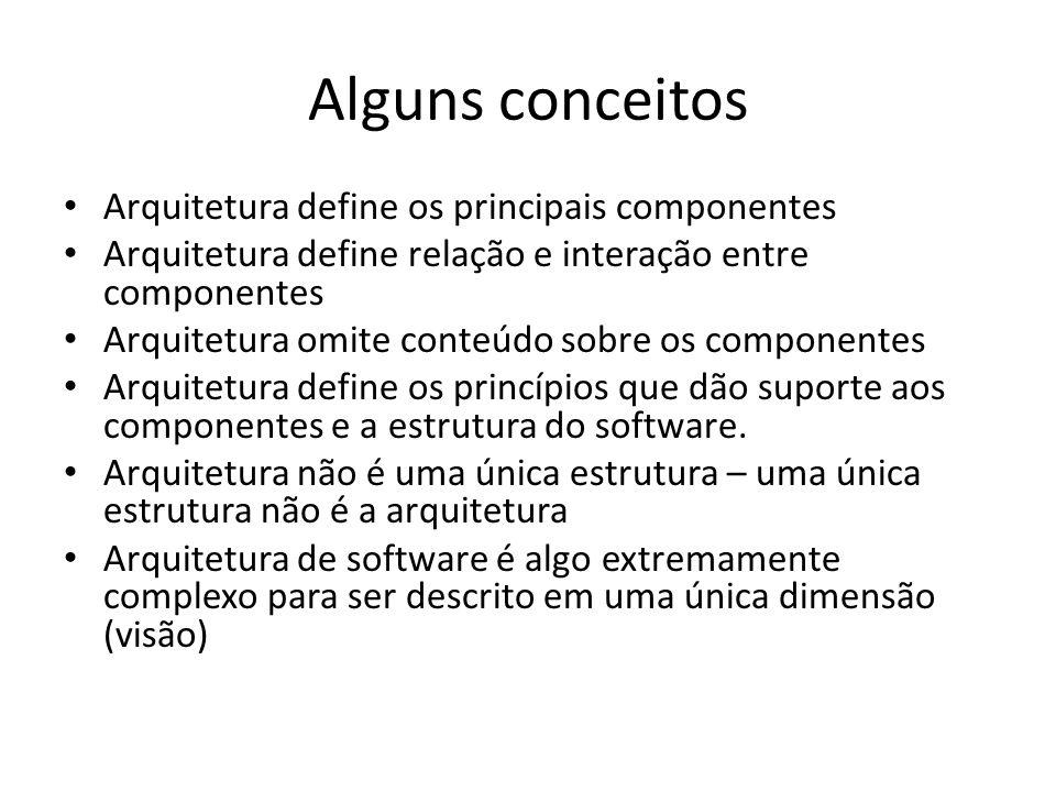 Alguns conceitos Arquitetura define os principais componentes Arquitetura define relação e interação entre componentes Arquitetura omite conteúdo sobr
