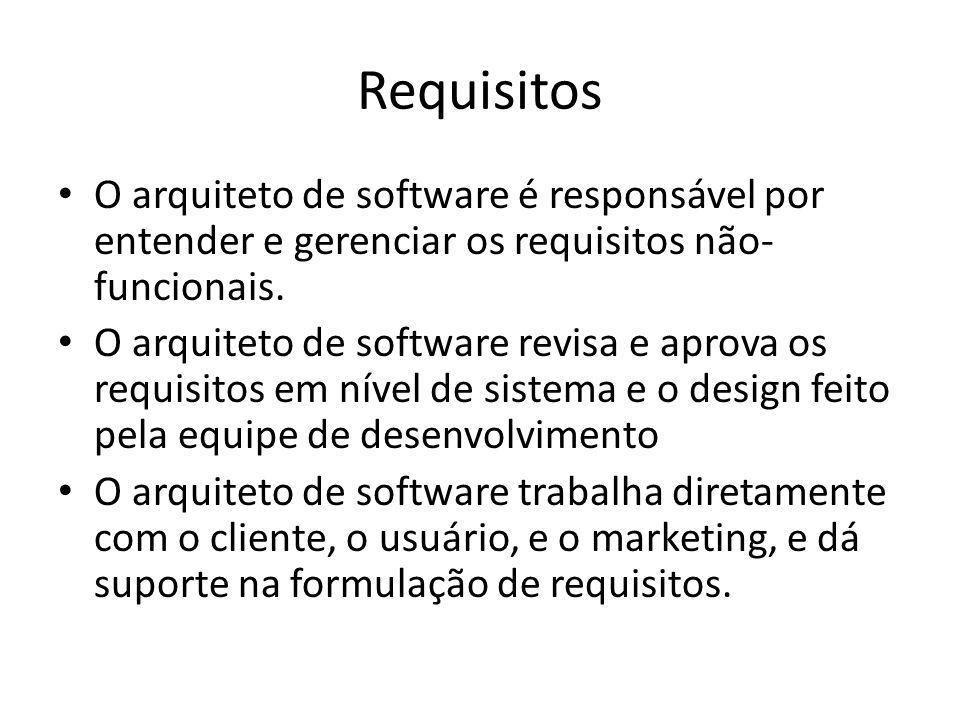 Requisitos O arquiteto de software é responsável por entender e gerenciar os requisitos não- funcionais. O arquiteto de software revisa e aprova os re