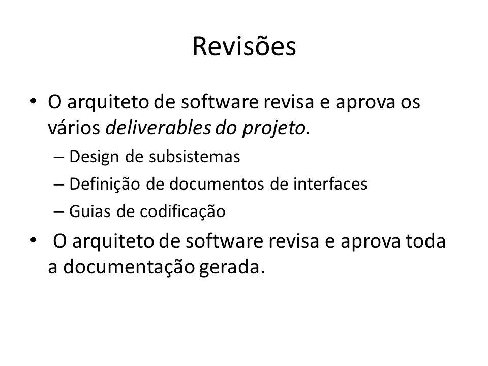 Revisões O arquiteto de software revisa e aprova os vários deliverables do projeto. – Design de subsistemas – Definição de documentos de interfaces –