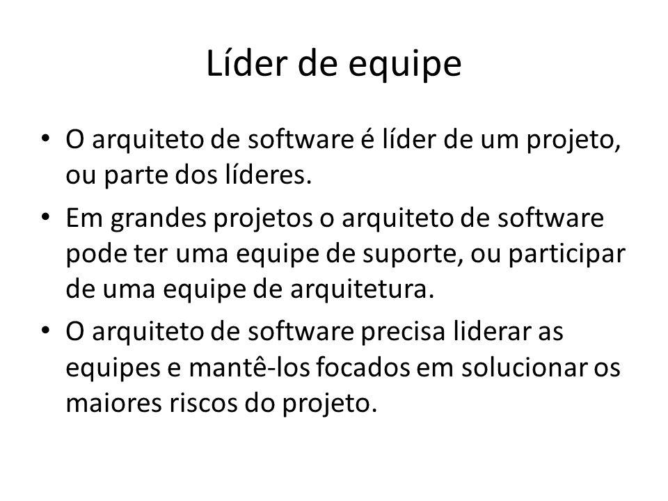 Líder de equipe O arquiteto de software é líder de um projeto, ou parte dos líderes. Em grandes projetos o arquiteto de software pode ter uma equipe d