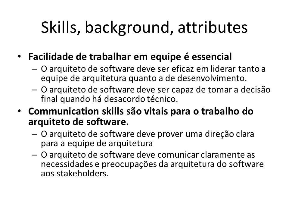 Skills, background, attributes Facilidade de trabalhar em equipe é essencial – O arquiteto de software deve ser eficaz em liderar tanto a equipe de ar