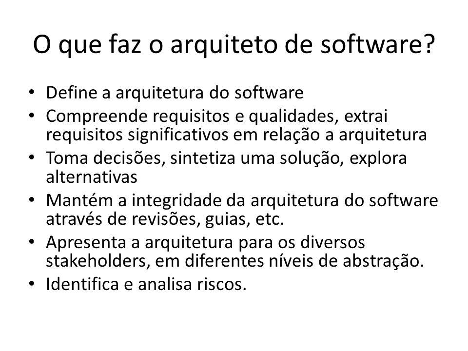 O que faz o arquiteto de software? Define a arquitetura do software Compreende requisitos e qualidades, extrai requisitos significativos em relação a