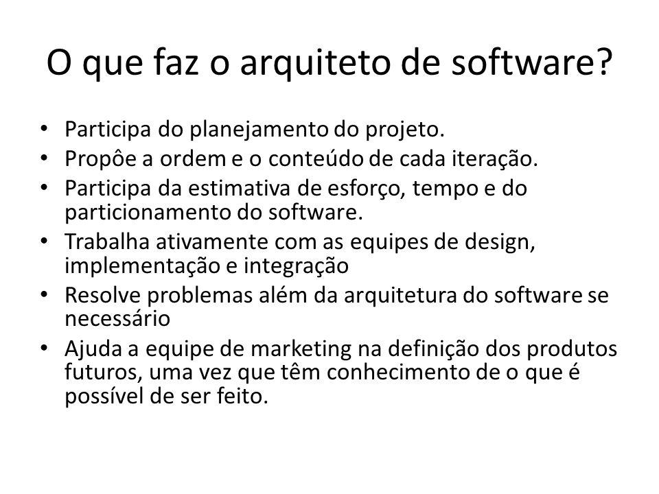 O que faz o arquiteto de software? Participa do planejamento do projeto. Propôe a ordem e o conteúdo de cada iteração. Participa da estimativa de esfo