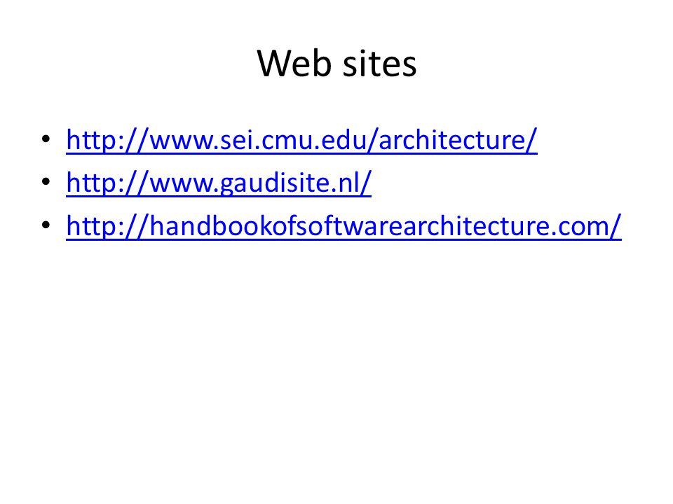 Web sites http://www.sei.cmu.edu/architecture/ http://www.gaudisite.nl/ http://handbookofsoftwarearchitecture.com/
